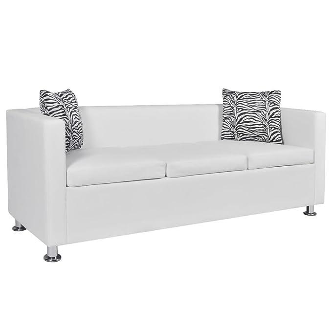 vidaXL Set de Dos sofás de Cuero Artificial Blancos de 2 ...