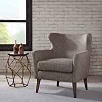 Contemporary Gray Brown Upholstered Wingback Accent Armchair with Wood Legs- Includes ModHaus Living Pen