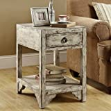 Monarch Specialties Reclaimed Solid Wood 1-Drawer Accent Table, Mixed Taupe