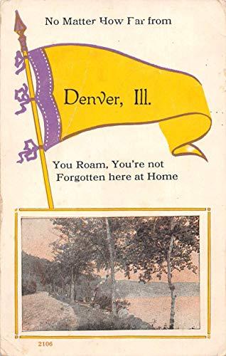 Denver Illinois Scenic View Pennant Flag Vintage Postcard JC932297