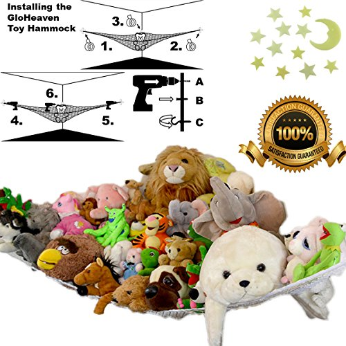 Stuffed Animal Holder Hammock  Hanging Toy Storage Net  Quick, Easy Installation   With Free Glowing Wall (Animal Holder)