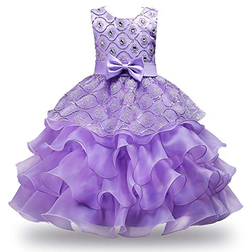 MOREMOO Girls Ruffles Embroidered Sequined Pageant Flower Wedding Dress(Purple 1 5) ()