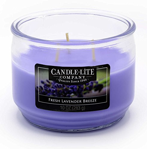 (Candle Lite-3Wick Scented Candle Jar, Fresh Lavender Breeze 283g Purple, 10.5x 10.5x)