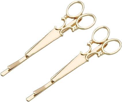 Or Frcolor 2pcs Pince /à Cheveux Alliage Forme de Ciseau Barettes pour Cheveux Accessoires Enfants Adults