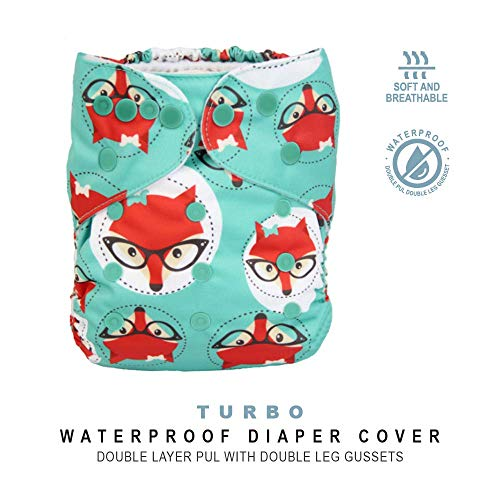 Baby Tooshy Cloth Diaper Covers with Double Gussets. Waterproof, Adjustable & Reusable. One Size for Prefolds/Flats/ Inserts. Turbo