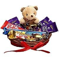 SFU E Com Chocolate with Cute Teddy Hamper | Gift for Rakhi, Diwali, Anniversary, Birthday, Christmas, Valentine, Her, Him | Assorted Chocolate Gift | 006