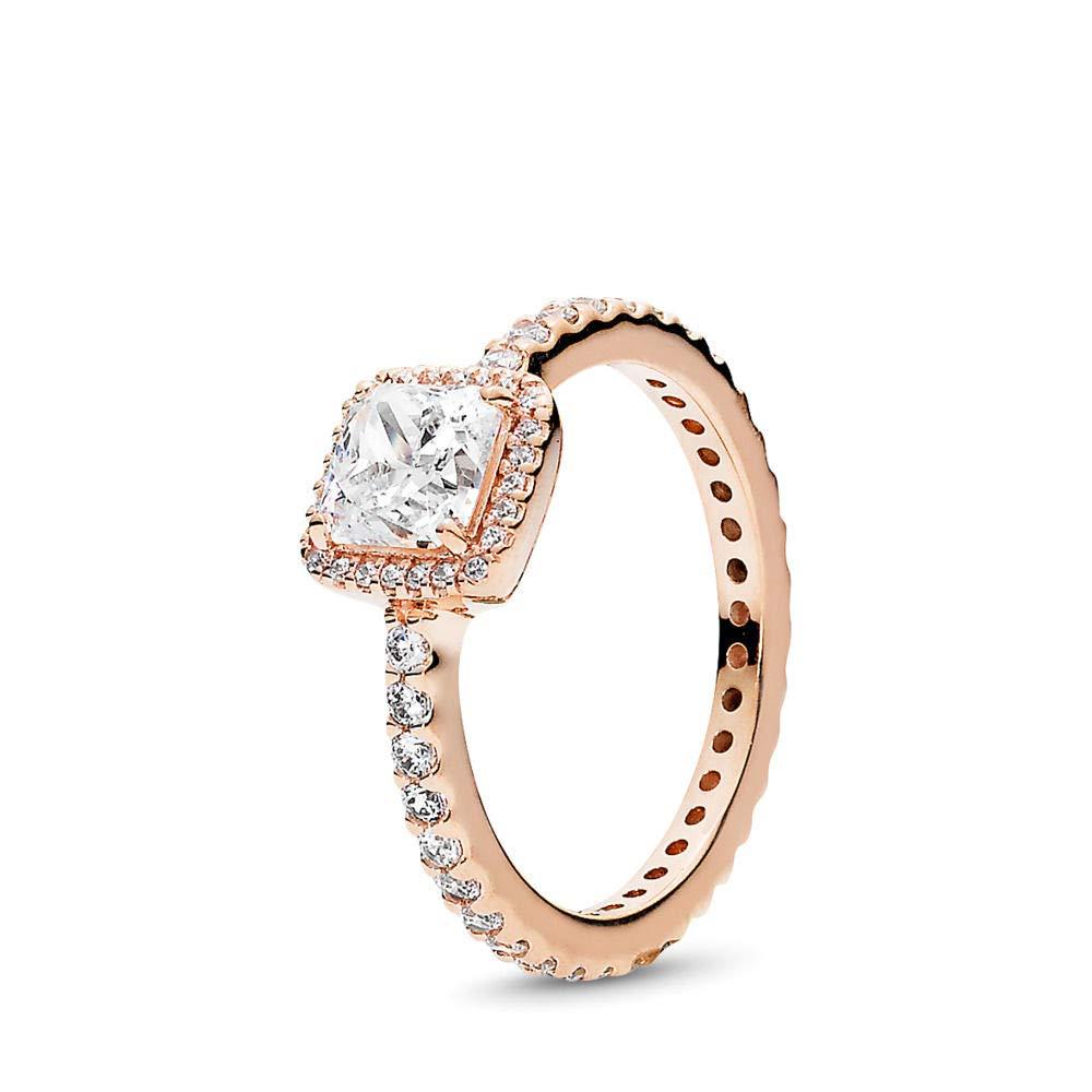 PANDORA Timeless Elegance Ring, PANDORA Rose, Clear Cubic Zirconia, Size 6 by PANDORA