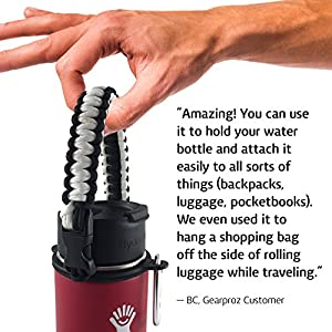 Hydro Flask Handle - America's #1 Paracord Water Bottle Holder, Also Perfect for Nalgene Bottles, Includes HydroCord Strap w/Safety Ring that Guarantees No Dropping (White)