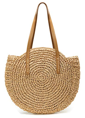 Round Summer Straw Large Woven Bag Purse For Women Vocation Tote Handbags Khaki ()