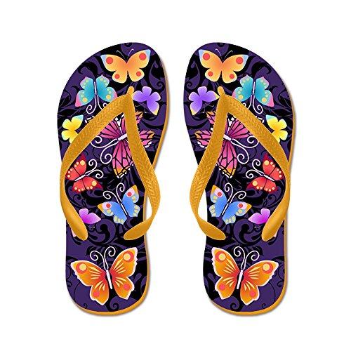 Cafepress Swirls & Butterflies Dark - Infradito, Divertenti Sandali Infradito, Sandali Da Spiaggia Arancione