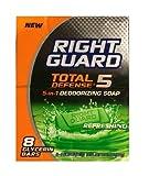 New Right Guard Total Defense 5 in 1 Deodorizing Soap 4oz bars (8 bars per pack) For Sale