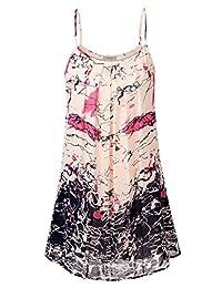 WAJAT Women's Sleeveless Strappy Beach Chiffon Cami Tank Tunic Dress