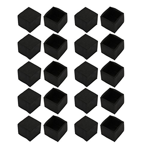 uxcell 20Pcs Furniture Table Chair Square Rubber Leg Tip Cap 25mm x 25mm by uxcell