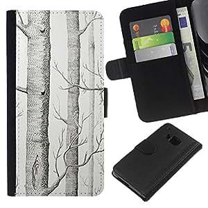 KingStore / Leather Etui en cuir / HTC One M9 / Dibujo Árbol Blanco Arte Lápiz;