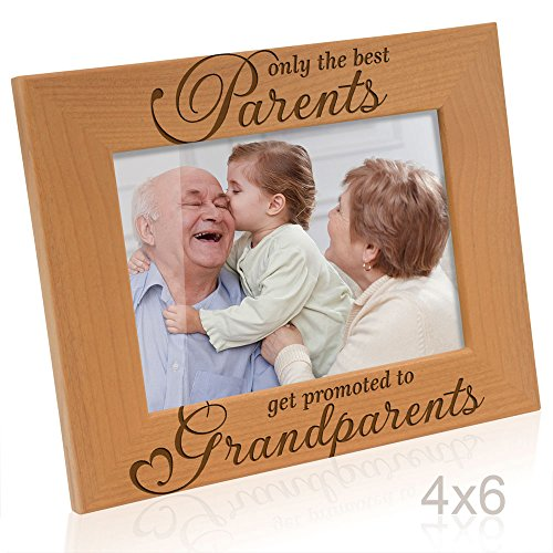 (Kate Posh - Only the Best Parents get Promoted to Grandparents Picture Frame - Engraved Natural Wood Photo Frame - Grandma Gifts, Grandpa Gifts, Christmas Gifts for Grandparents (4x6-Horizontal) )
