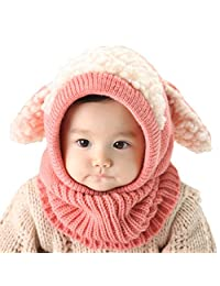 HZTG Baby Girls Boys Winter Warm Scarf Shawl Hat Knit Cute Face Cover Balaclava