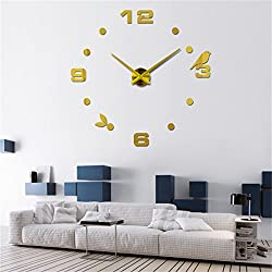 Christmas Present DIY 3D Large Wall Clock Home Decor Sticker Gold Mirror Holiday Gift