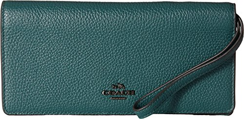 Coach Woman Pebbled-leather Continental Wallet Turquoise Size Coach ARr7y
