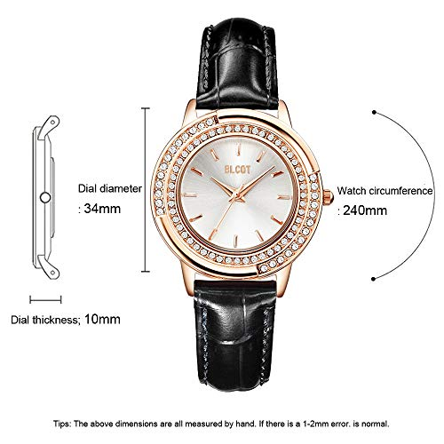 BLCOT Woman s Crystal Accented Magnetic Buckle Mesh Belt Rose Gold Quartz Bracelet Watch