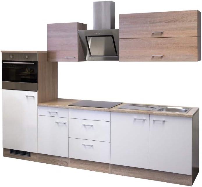 Smart Möbel Salerno - Bloque de Cocina (270 cm, Roble Sonoma, con Campana extractora, frigorífico y Fregadero), Color Blanco: Amazon.es: Juguetes y juegos