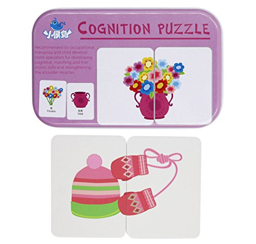 BabyPrice 32pcs Anti-tear Flash Cards Learning Alphabet Puzzle Cards, Jigsaw Shape Matching Puzzle Cognitive Early Educational Learning Toys with Mental Storage Box (Abcs Memory Box)