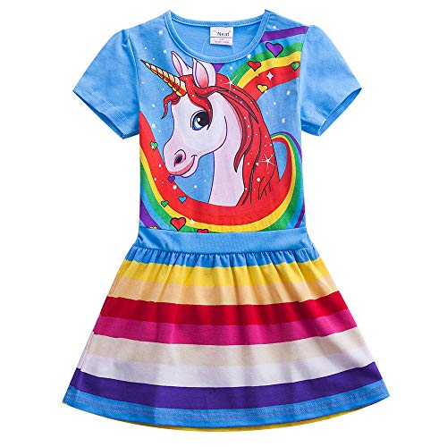 (JUXINSU Toddler Cotton Girl Summer Short Sleeve Dress Rainbow Pony Cartoon for Girls 3-7 Years (SH6219-Blue,)
