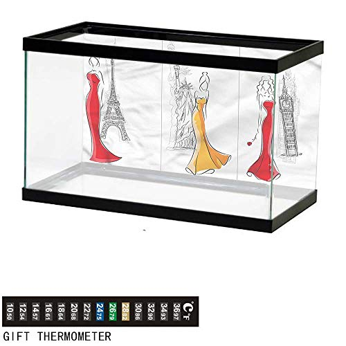 bybyhome Fish Tank Backdrop Girls,Sketch Capital City Landmarks,Aquarium Background,48