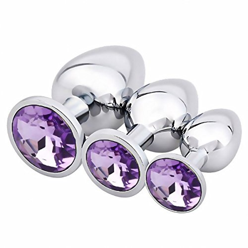 WSDQS 3PCS Diamond Jeweled Beginners Butt Plug Adult Sex Anal Plug SM Fetish Bondage Restraint Sex Massager (Light Purple) by WSDQS
