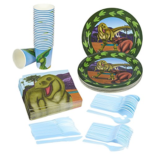 Disposable Dinnerware Set - Serves 24 - Dinosaur Party Supplies - Includes Plastic Knives, Spoons, Forks, Paper Plates, Napkins, Cups, Pink, Blue, White
