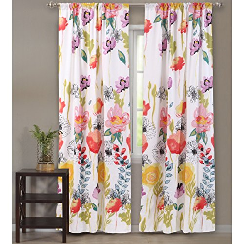Pair Polyester Curtains - Watercolor Dream Floral 84-Inch Polyester Curtain Panel Pair with (2) Tie Backs