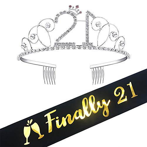 21st Birthday Tiara and Sash, Glitter Satin Sash