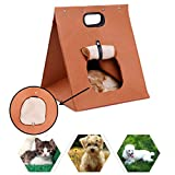Portable Felted Pet Kennel Cat House/Cat Condo Cave Bed with Removable Cushion Mat, Ventilated Design, Foldable Pet Carrier Purse Handbag Travel Tote for Small Medium Dog Puppy Doggy Kitten Rabbit