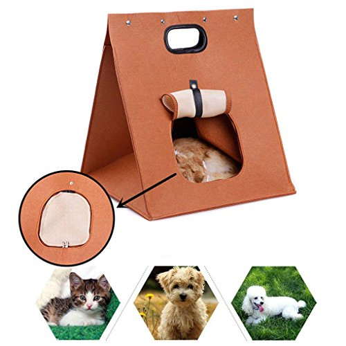 Portable Felted Pet Kennel Cat House/Cat Condo Cave Bed with Removable Cushion Mat, Ventilated Design, Foldable Pet Carrier Purse Handbag Travel Tote for Small Medium Dog Puppy Doggy Kitten Rabbit For Sale