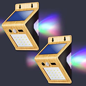 Colorful Backlight Outdoor Solar Lights,LivEditor LED Motion Sensor Solar Lights with USB Charging Port,for Outdoor Diveway Patio Garden Path Yard Deck - 2 Pack