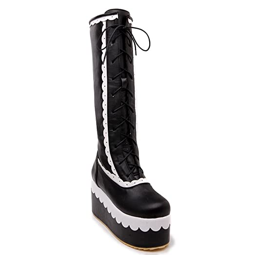 Womens Dance-Ballroom Chukka Platform Contrast-Stitching Fashion High-Top Adjustable-Strap Quilted Boots Waterproof Urethane Boots MNS02257