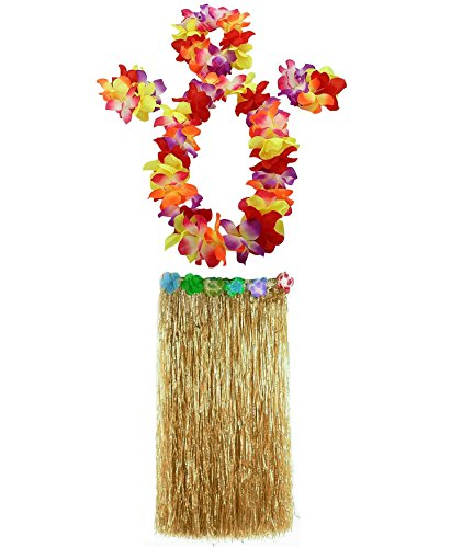 (AniiKiss 1 Set 80cm Adult Party Hawaii Dress Hula Grass Skirt (Festucine))