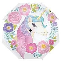 Cooper girl Unicorn Flowers Rose Umbrella Sun Rain Travel Umbrella with UV Protection for Kids Girl Boys