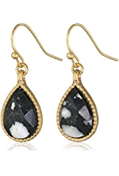 "NINE WEST VINTAGE AMERICA ""Royal Ruins"" Gold-Tone and Black Petite Drop Earrings"