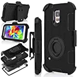 Galaxy S5 Case, S5 Case, Jwest Shockproof Hybrid Rugged Samsung Galaxy S5 Case Rubber Three Layer Holster Cover Case for Samsung Galaxy S5 with Built-in Rotating Stand and Belt Swivel Clip Black