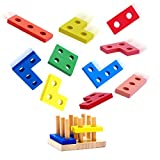 USATDD Wooden Educational Toys, Wooden Shape Color Sorting Preschool Stacking Blocks Toddler Puzzles Toys Birthday Gifts for Boys and Girls