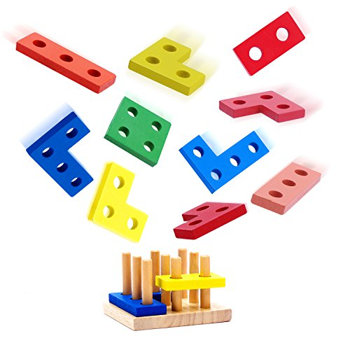 - USATDD Wooden Educational Toys, Wooden Shape Color Sorting Preschool Stacking Blocks Toddler Puzzles Toys Birthday Gifts for Boys and Girls