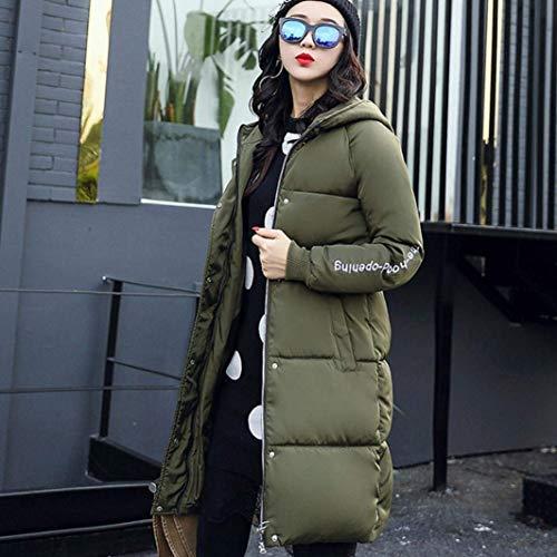 Invierno Espesar Armeegrün Caliente Mujer Largos Elegantes Outdoor Parka Invierno Hooded Casuales Pluma Abrigo Plumas Acolchado Larga Manga n1fvFxg