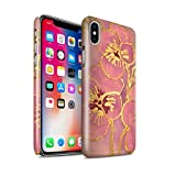 STUFF4 Gloss Hard Back Snap-On Phone Case for Apple iPhone X/10 / Baby Pink Design / Floral Silk Effect Collection