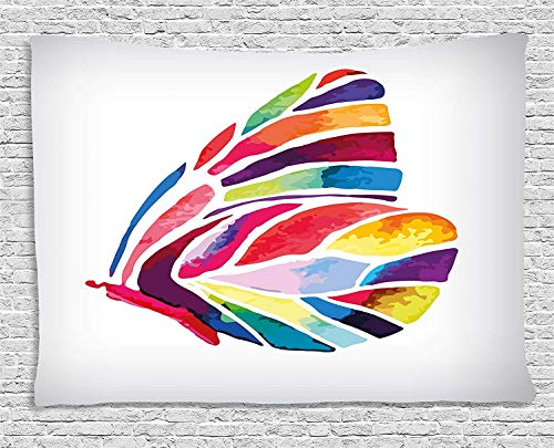 - CHARMHOME Butterflies Decor Tapestry, Butterfly with Rainbow Colored Wings Geometric Lines Modern Artwork Wall Hanging Tapestry for Bedroom Living Room Dorm Decor, 60x90 Inches