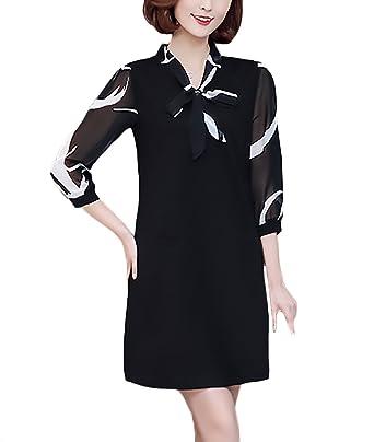 80236cb4b0 Vestidos Mujer Elegantes Moda Primavera Verano Vestido De Gasa Manga 3 4  con Lazo Una Línea Suelta Tallas Grandes Vestidos Cortos Informales Vestido  ...