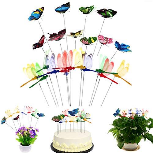 SUSHAFEN 12Pcs Dragonflies Stakes and 10Pcs Butterflies on Sticks Butterfly Dragonflies Cake Toppers for Party Cake Decoration Flower Plant Pot Miniature Fairy Garden Decoration