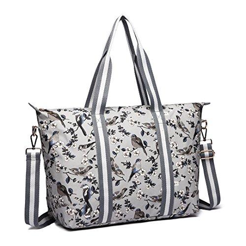 Miss Lulu Bird Flower Oilcloth Bag Light Women Handbag Large Weight Pieces Matte Shoulder 2 Overnight Foldaway grxdaSqwg