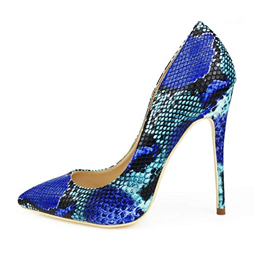 Miluoro Blue Snake Printed Sexy Stilettos High Heels 12cm Pointed Toe Women Pumps (9)
