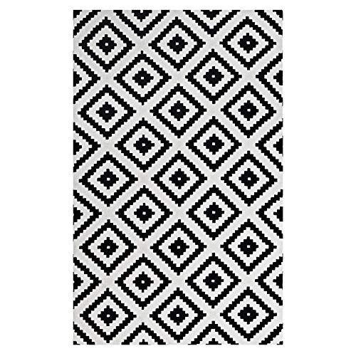Modway Alika Abstract Diamond Trellis 5x8 Area Rug With Contemporary Design In Black and White