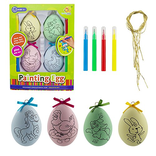Painting Christmas Crafts (Painting Crafts for Kids,SHONCO Coloring Your Own Plastic Eggs with Horse Hen Bunny Painting for Christmas Gifts and Christmas Tree Decorations,4 Pack)